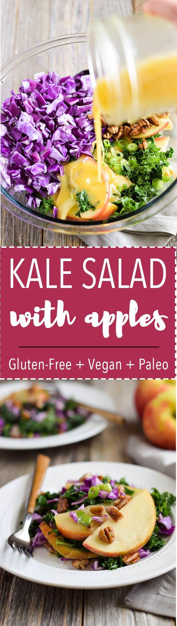Crunchy Kale Apple Salad is gluten free, vegan + paleo! Made with Honeycrisp apples, pecans + apple cider vinaigrette.