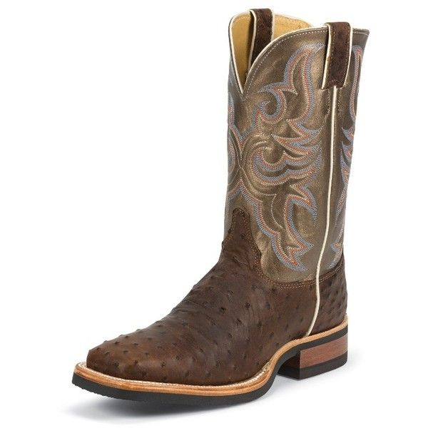 Justin Boots Men's Antique Saddle Full Quill Ostrich Aqha Remuda®... ($380) ❤ liked on Polyvore featuring men's fashion, men's shoes, men's boots, men's work boots, mens tall boots, mens square toe boots, mens boots, mens ostrich boots and mens square toe work boots