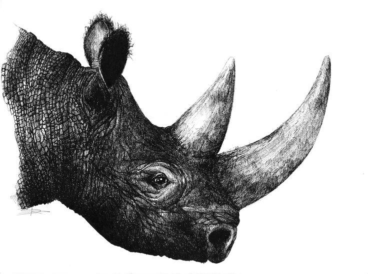 Portrait of a rhinoceros - ORIGINAL - 100€ Illustration by Ariane Relander