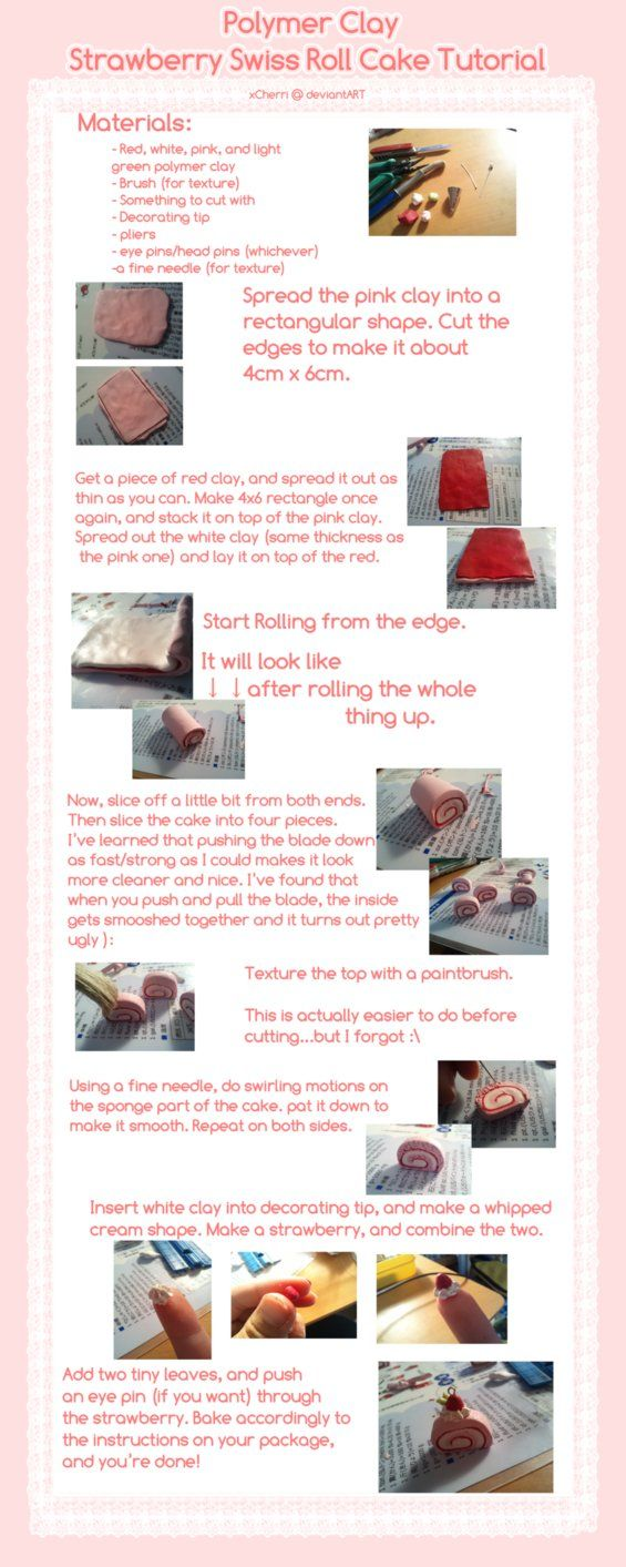 92 best polymer clay images on pinterest cold porcelain play tutorial polymer clay strawberry swiss roll by kurunut on deviantart baditri Images
