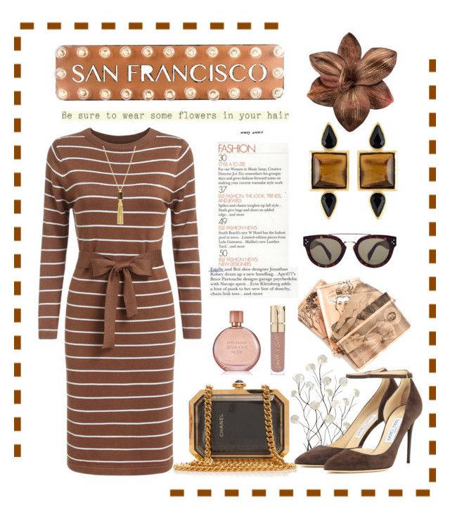 """San Francisco"" by conch-lady ❤ liked on Polyvore featuring Vince Camuto, Dot & Bo, Universal Lighting and Decor, George & Laurel, Chanel, Jimmy Choo, CÉLINE, Smith & Cult, Estée Lauder and women's clothing"