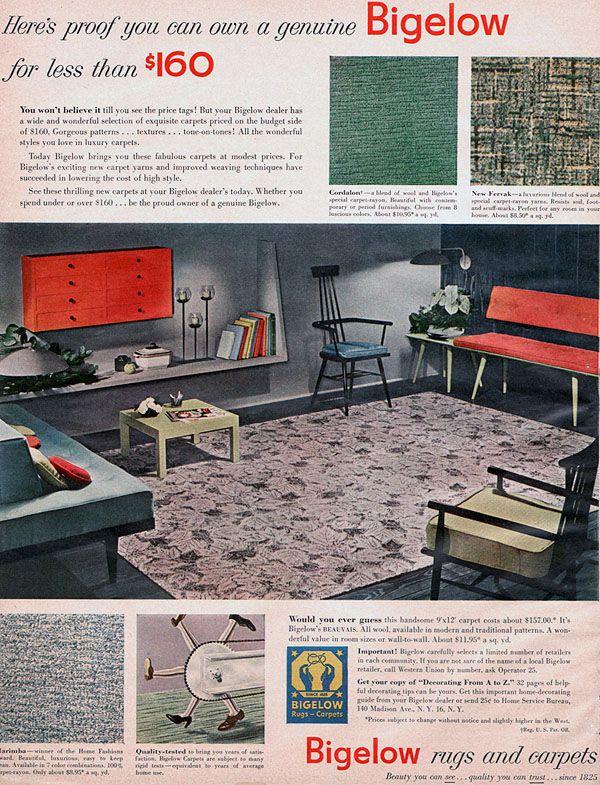 Bigelow Ad Featuring Pual McCobb Furniture, 1952