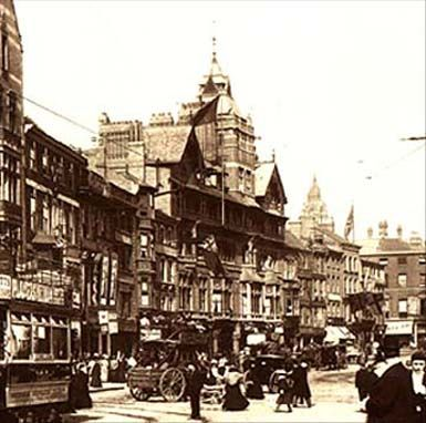 Black Boy Hotel, Long Row, Nottingham.  An inn had stood on this sight for many years when it was rebuilt by Fothergill in 1887-88. He later extended and added to the hotel in 1897. With its massive central tower with dark wooden gables and a Bavarian balcony with a dark wood balustrade, it was a major landmark in Nottingham city centre until its demolition in the late 1960s.