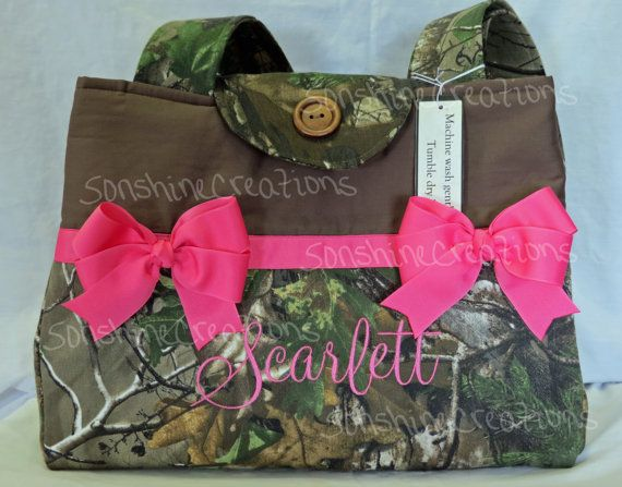 Monogrammed Camo Diaper Bag - Pink Bows - Baby Girl - Large - Travel - Eight Pockets - magnetic tab button closure - Made to Order on Etsy, $65.00