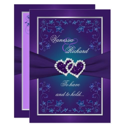 wedding purple teal floral hearts faux foil card - Purple And Turquoise Wedding Invitations