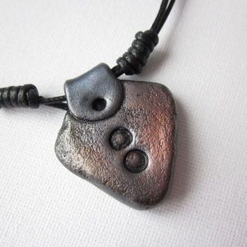 Mens metallic pendant, mens necklace, mens cord necklace, polymer clay triangle pendant for men