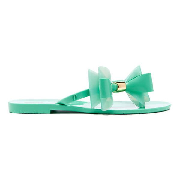 Melissa Women's Harmonic Cute Flip Flops - Mint ($61) ❤ liked on Polyvore featuring shoes, sandals, flip flops, green, flat sandals, mint green sandals, patent leather sandals, patent leather shoes and green flat sandals