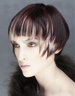 A short brown straight coloured multi-tonal blonde-tips dip dye hairstyle by William De Ridder