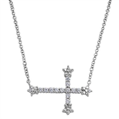 "Iced Sideways Cross Necklace with Stones, 925 Sterling Silver, 16-17"" Chain"