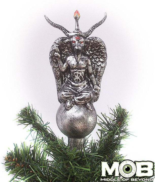 Product in Stock Ships in 1-2 Days Place Baphomet on top of your pine altar. This ornament is 7.5 inches tall and 3.5 inches wide. Made of blown glass.