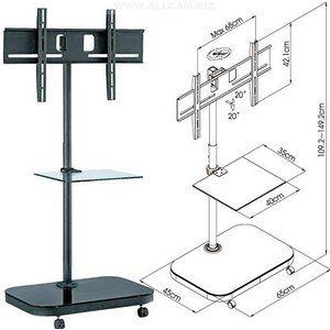 FS941 Plasma / LCD TV Carro Soporte de suelo con el soporte de montaje y estante de vidrio
