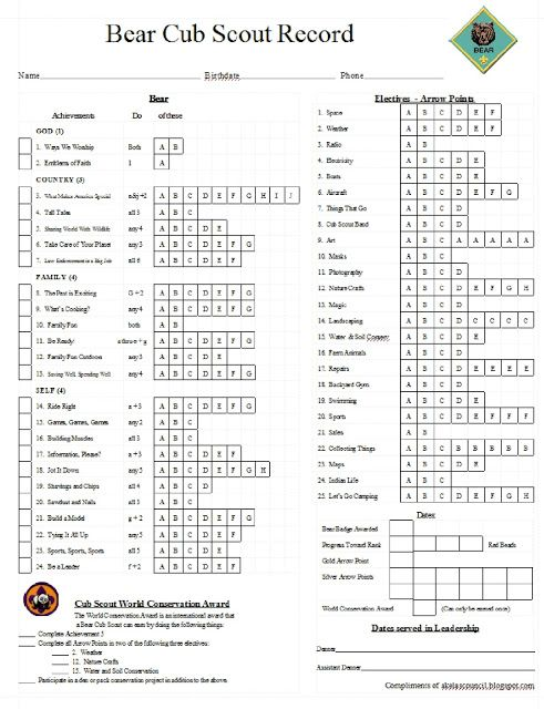 Akela's Council Cub Scout Leader Training: Cub Scout Bear PRINTABLE Tracking Work Sheet I'm finding the print outs for each scout generated by Scout Tracker is too small for parents to read. Hopefully this simplified version, with larger text, will work better for our group.