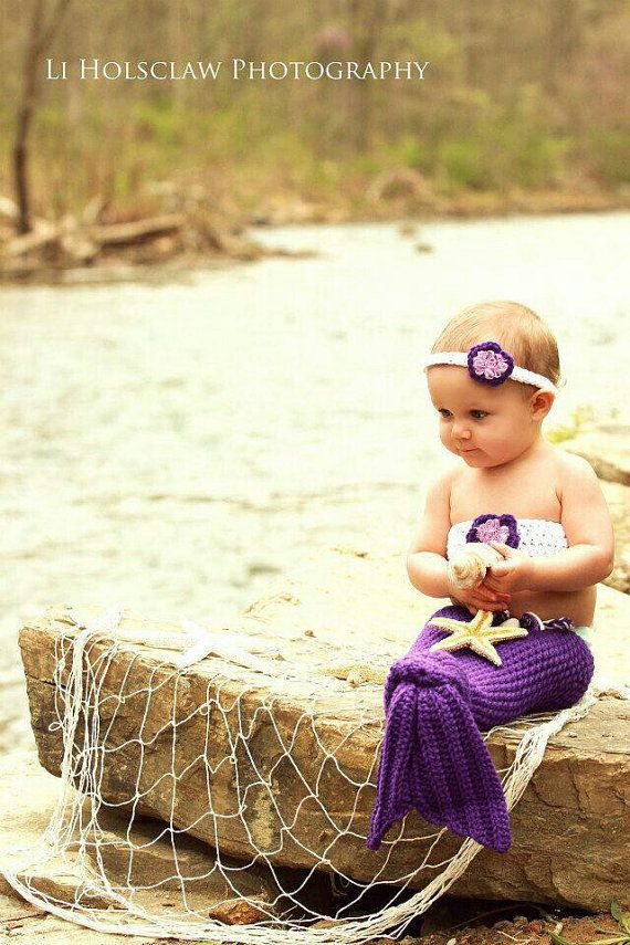 Crochet Girls Mermaid Tail Photography Prop by OhMacy on Etsy