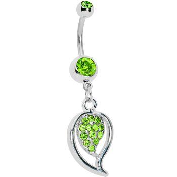 Peridot Green Gem Stylish Paved Leaf Belly Ring | Body Candy Body Jewelry #bodycandy #bellyring #piercing