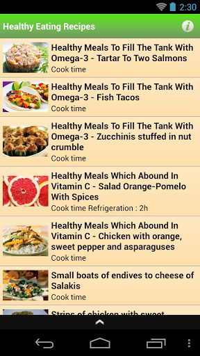 Application healthy eating recipes Is a group of healthy meals and delicious and easy to cook ,There are a range of good meals and healthy do not need a lot of time to work. The healthy eating recipes is system is rich in carbohydrates, such as rice and pasta, with lots of fruits and vegetables, and certain foods rich in protein such as meat, fish, lentils, milk and dairy products, and reducing the intake of fat, salt and sugar, which gives you all the nutrients that your body needs...