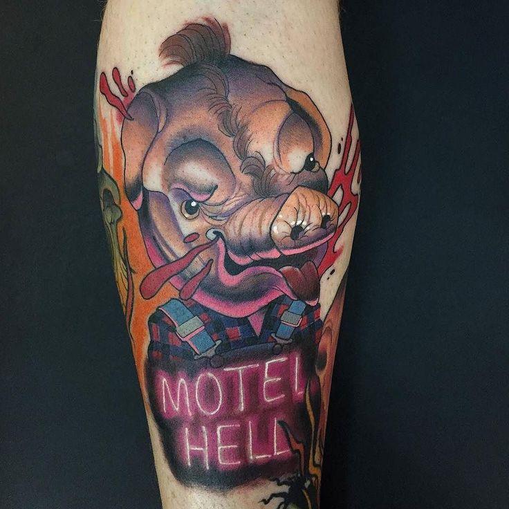 Motel Hell tattoo by @martyrietmcewen at @black13tattoo in Nashville TN #martyrietmcewen #black13tattoo #black13 #nashville #tennessee #motelhell #farmervincent #motelhello #pig #horror #horrortattoo #horrormovie #tattoo #tattoos #tattoosnob