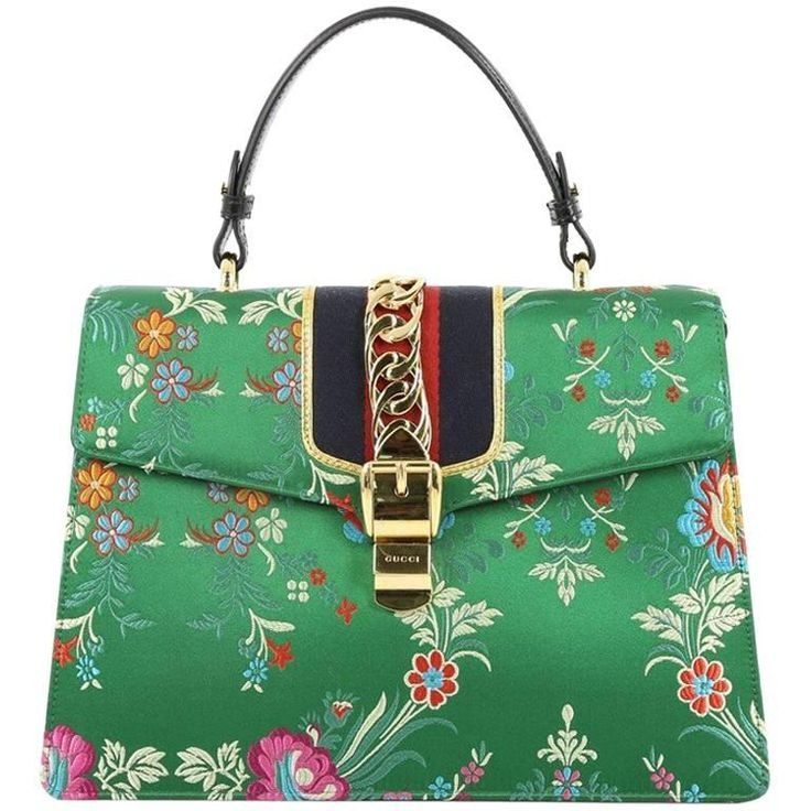 Gucci Sylvie Top Handle Bag Floral Jacquard Medium | From a collection of rare vintage top handle bags at https://www.1stdibs.com/fashion/handbags-purses-bags/top-handle-bags/