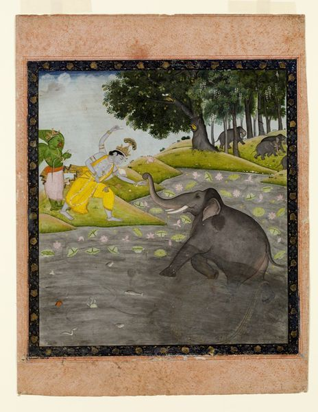 Vishnu and Gajendra. Watercolour. Place of origin: Kangra, India (made) Date: ca. 1830 (made)
