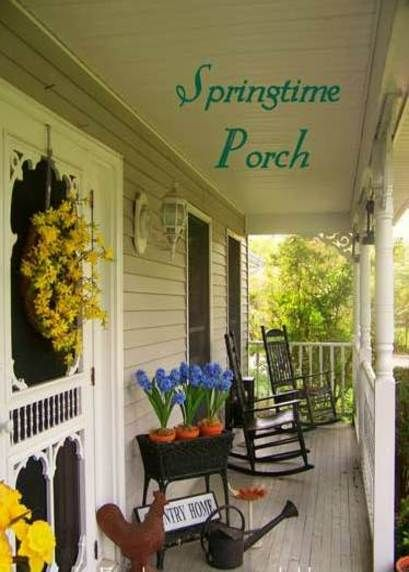 Spring Time Front Porch: Country Porches, Spring Time, Country Style, Decorating Ideas, Porch Decorating, Country Farmhouse, Porch Ideas, Screen Doors, Front Porches
