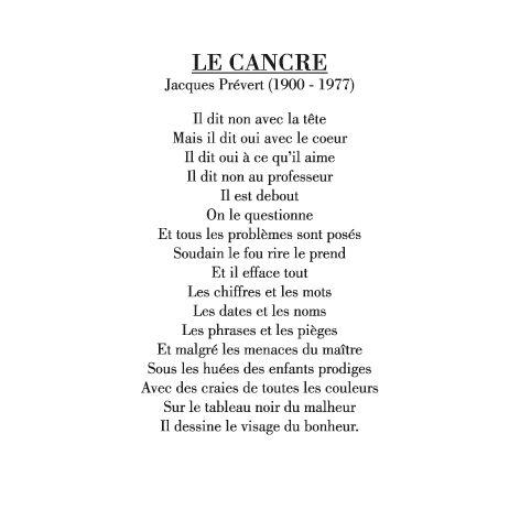 Le cancre - poeme de Jacques Prevert