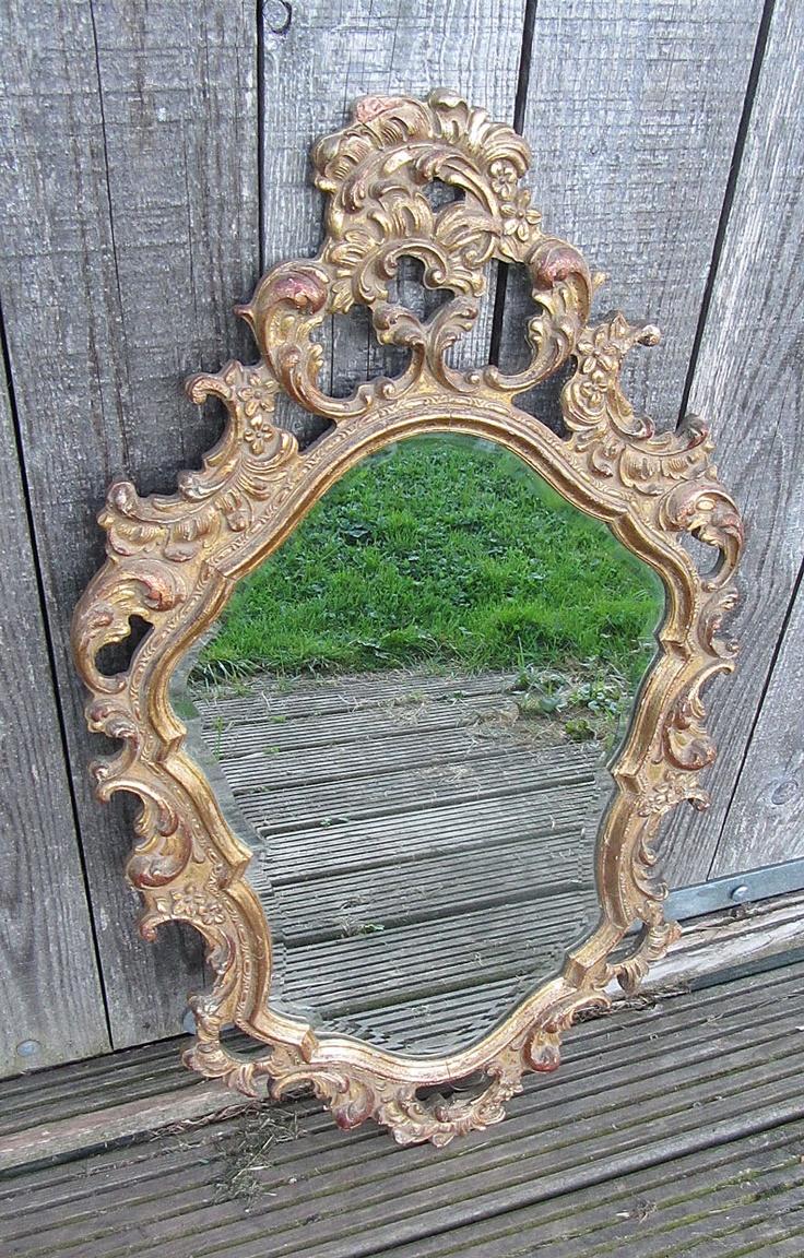 Oude spiegel (facet geslepen), brocante webwinkel de Kofferzolder