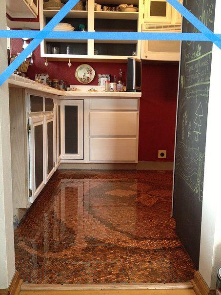 "Penny Floor - Pinner said, ""The Penny Floor - in my kitchen in Colorado."" #DIY #Floor #Flooring #Penny  #PennyFloor #Pennies"