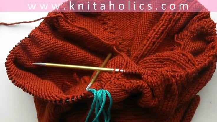 Knit with eliZZZa * Raglan Sweater Top Down * Video #04 * Put Sleeve Sti...