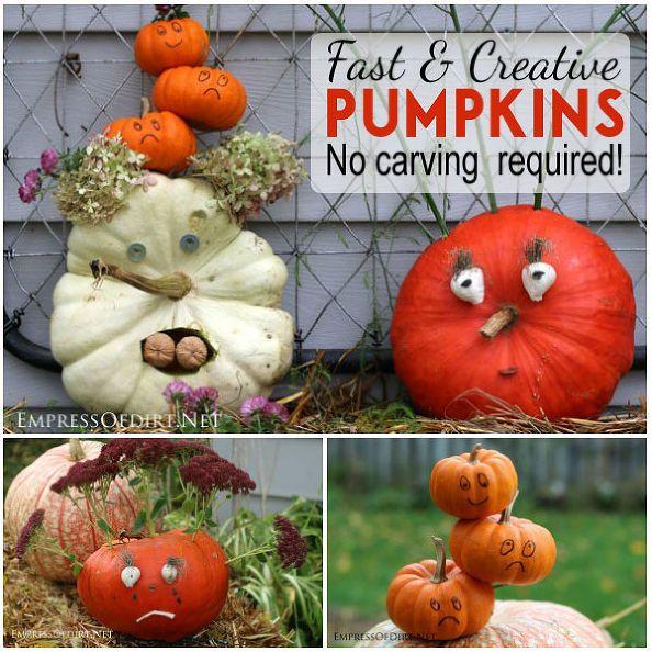 fun creative pumpkins in 20 minutes and no carving creative pumpkinspumpkin decoratingdecorating tipshalloween
