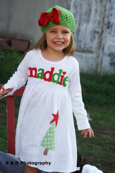 Toddler Christmas Dress Personalized Tree by roundthebendagain, $32.00