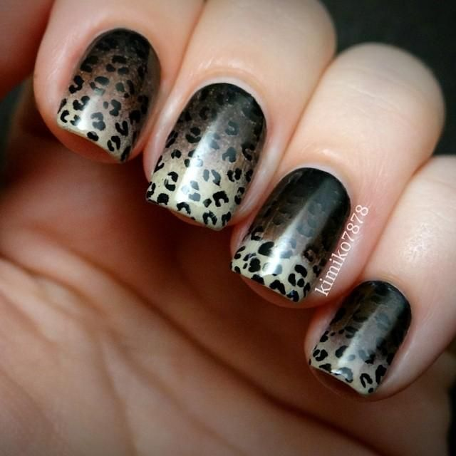 Awesome leopard print over a black-brown-ivory gradient!!!  Awesome combo!!!