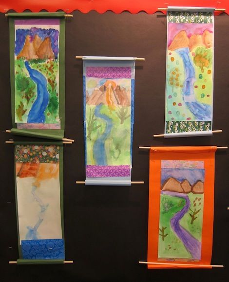 Camp 2013 kids art project chinese landscape scroll for Landscape art projects