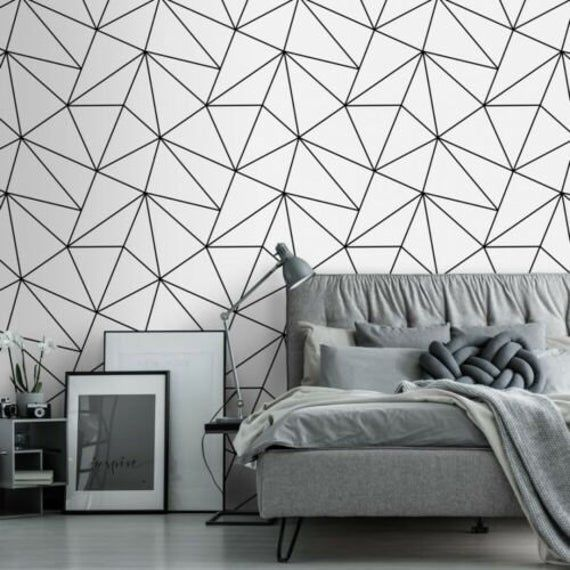 Contemporary Triangle Geometric Lines Wallpaper Black White Modern 3d Wallcoverings Geometric Wallpaper White Black And White Wallpaper Black Wallpaper Living Room
