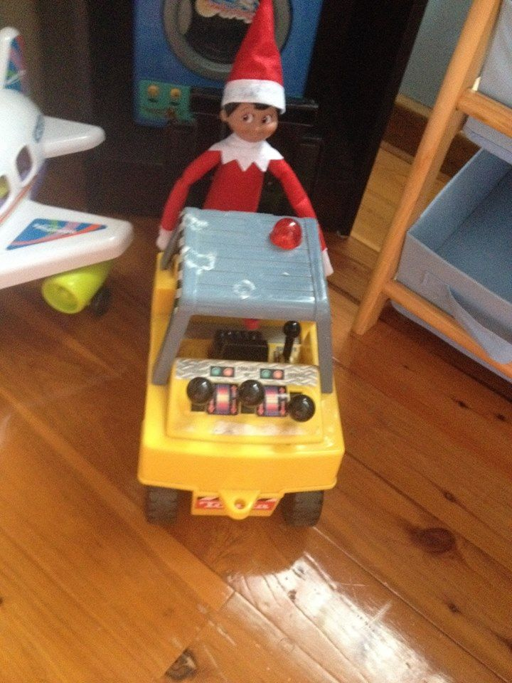 Elf on the Shelf -driving the forklift