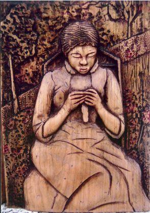 Talla relieve en madera de haya