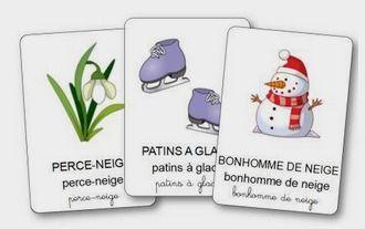 FREE French winter vocabulary cards. L'imagier de l'hiver pour la maternelle à imprimer gratuitement