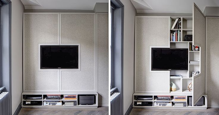 TV Wall Design Idea – Hide Shelves With Large Custom-Made Cabinet Doors