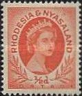 Rhodesia and Nyasaland, 1.7.1954, Queen Elizabeth II. No.1 1/2P reddish orange. Stamped 2,70 USD, Mint Condition 2,70 USD.