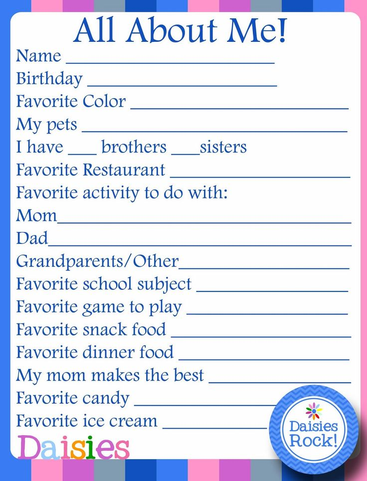 Girl Scouts: About Me FREE Printable for Daisies
