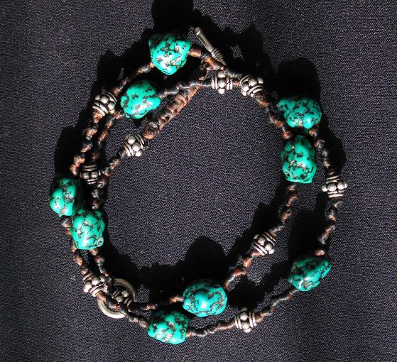 turquoise and silver beads knotted waxed cotton