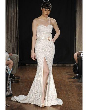 Sarah Jassir Spring 2013 wedding dress with sexy slit