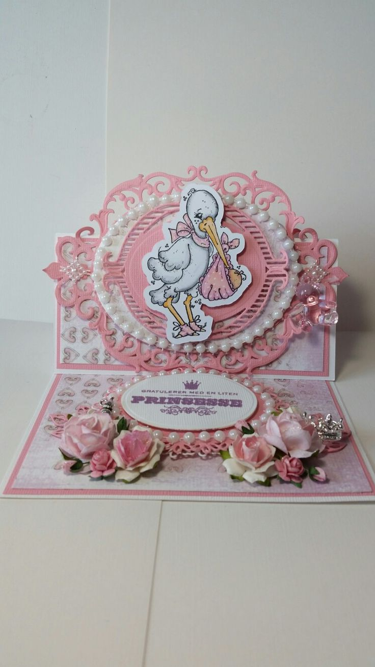 Pink baby card with magnolia stamp