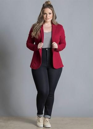 Blazer de Moletom (Poá Bordô) Plus Size                                                                                                                                                                                 Mais