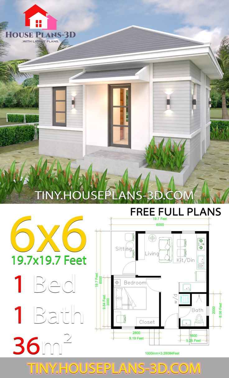 Small House Plans 6x6 with One Bedroom Hip Roof House