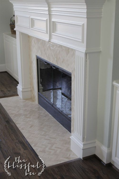 Fireplace - Herringbone tile - 1x3 inch marble tile with mesh backing (typically seen in back splashes)