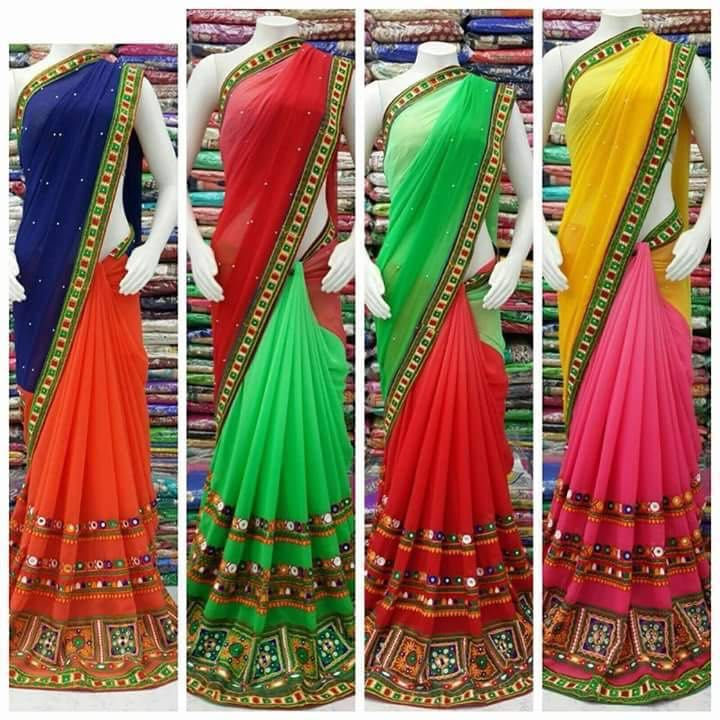 georgette designer saree with unstitched blouse  price: 1350 rs shipping extra  call/whatsapp: +91 9425052960