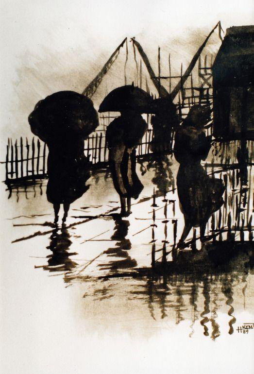 "Saatchi Online Artist: H Kemp; Ink, Painting ""Walking in the Rain"""