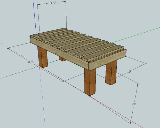 Beat up pallet turned rustic Bench