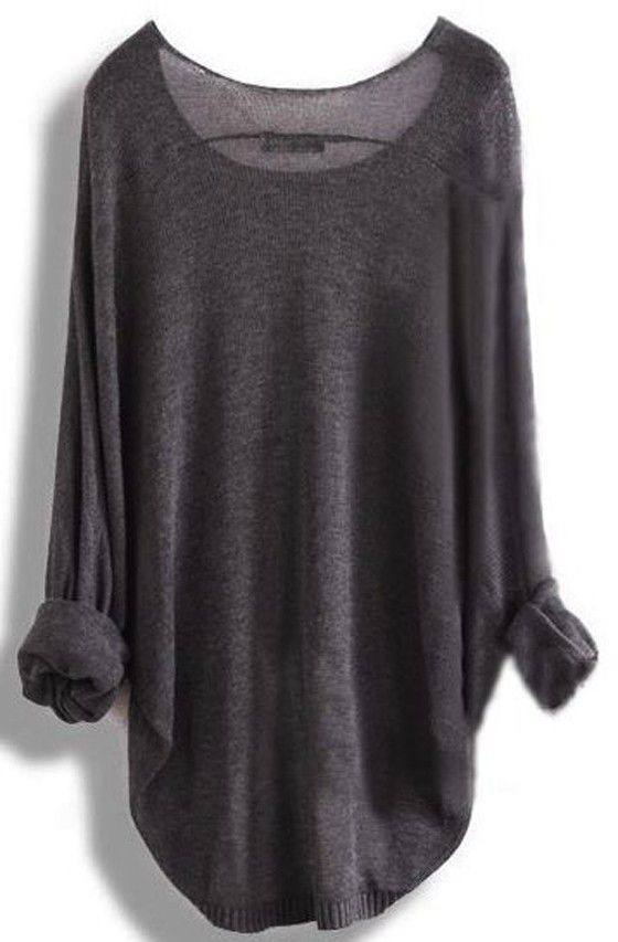 Grey Plain Irregular Round Neck Dolman Sleeve Loose Fashion Pullover Sweater