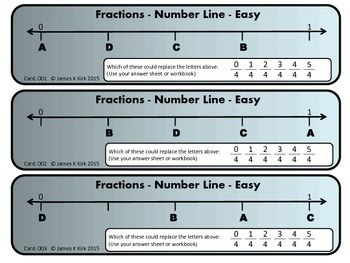 Fractions challenge cards: place value & number lines. These fractions card challenges are a great resource for math stations and as a school or home resource. Fractions cards, number lines and place value. 3 cards per A4 sheet. 60 challenges in total ranging from easy to hard. Suitable to use all year round.
