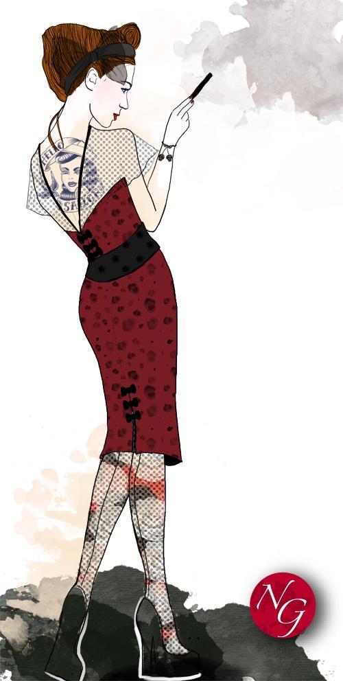 Rockabilly chic  http://www.nefergarden.com/2013/01/18/rockabilly-chic/  #fashion #illustration #rockabilly #50s #rocknroll #retro